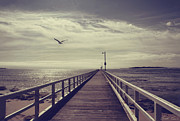 Picturesque Digital Art Prints - The Jetty Print by Linda Lees