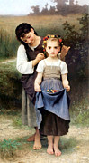 The Two Sisters Art - The Jewel of the Fields by William Bouguereau