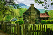 Smokey Mountains Digital Art Framed Prints - The John Davis Cabin Framed Print by Priscilla Burgers