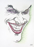 Crime Drawings Framed Prints - The Joker Framed Print by Conor OBrien