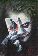 Actors Drawings Posters - The Joker Heath Ledger  Poster by Viola El