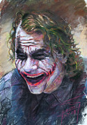 Dark Pastels Posters - The Joker Heath Ledger  sm Poster by Ylli Haruni