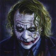 Actors Paintings - The Joker by Tim  Scoggins
