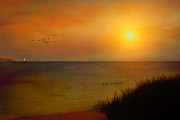 Sunset Seascape Posters - The Journey Back Home Poster by Tom York