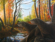 Otter Paintings - The Journey by Cara Bevan