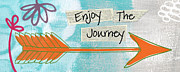 Orange Art Posters - The Journey Poster by Linda Woods