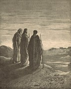 Bible Drawings Prints - The Journey to Emmaus Print by Antique Engravings