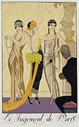 Glamorous Women Framed Prints - The Judgement of Paris Framed Print by Georges Barbier