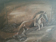 Horse Portrait Art - The Jump by Hayley Huckson