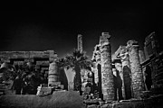 Carving Prints - The Karnak Temple BW Print by Erik Brede