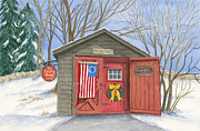 New England Snow Scene Metal Prints - The Keeping Room Metal Print by Rhonda Leonard