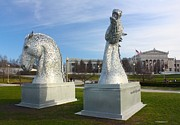 Kelpies Prints - The Kelpies with the Field Museum Print by Veronica Batterson
