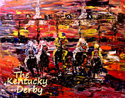 Pallet Knife Art - The Kentucky Derby - And Theyre Off Without Year  by Mark Moore