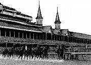 Horses Drawings - The Kentucky Derby by Bruce Kay