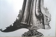 Charcoals Drawings Framed Prints - The Keris Framed Print by M Helmy Abdullah
