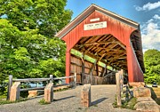 Wooden Bridges Photos - The King Covered Bridge by Adam Jewell