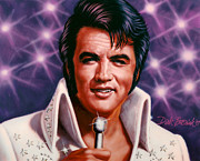 Elvis Portrait Paintings - The King by Dick Bobnick