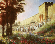 Palm Sunday Paintings - The King is Coming  Jerusalem by Graham Braddock