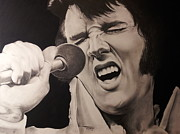 Microphone Pastels Posters - The King Lives On Poster by Richard James