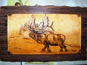 Log Cabin Art Pyrography - The king of forest-elk wood pyrography by Egri George-Christian