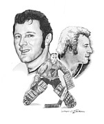 Hockey Drawings Originals - The King - Tony Esposito by Jerry Tibstra