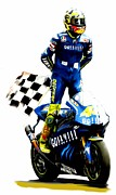 David Pucciarelli Collectible Art Drawings - The king  Valentino Rossi  by Iconic Images Art Gallery David Pucciarelli