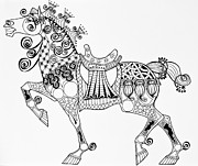 Tangle Drawings - The Kings Horse by Jani Freimann