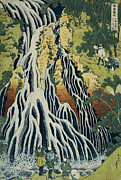 Figures Painting Posters - The Kirifuri Waterfall Poster by Hokusai