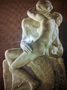 Hand Crafted Tapestries - Textiles - The Kiss - August Rodin by Printz Viorica