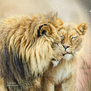 Lions Mixed Media Prints - The Kiss Print by Carol Cavalaris
