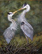 Great Birds Pastels Posters - The Kiss Poster by Deb LaFogg-Docherty