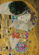Gustav Klimt. Kiss Posters - The Kiss detail Poster by Gustav Klimt