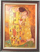 Drawing Pyrography Originals - The Kiss Gustav Klimt Original Fine Art by Gustav Klimt