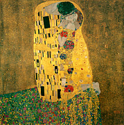 Figurative-abstract Prints - The Kiss Print by Gustive Klimt