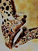 Mother And Baby Giraffe Paintings - The Kiss Mother Love by Susan Duxter