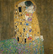 Klimt Digital Art Prints - The Kiss Print by Nomad Art And  Design