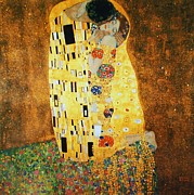 Gold Foil Paintings - The  Kiss by Pg Reproductions