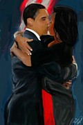 President Obama Digital Art Prints - The Kiss Print by Vannetta Ferguson