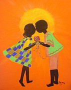 Ethnic Paintings - The Kiss - Young Love series by Barbara Hayes