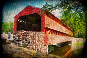Covered Bridge Digital Art Prints - The Kissing Bridge Print by Lois Bryan