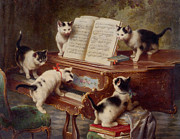 Music Score Posters - The Kittens Recital Poster by Carl Reichert