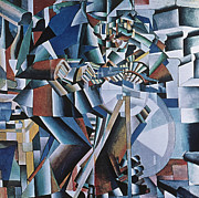Machine Painting Posters - The Knife Grinder Poster by Kazimir  Malevich