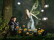 Enchanted Forest Posters - The Knight and the Faerie Poster by Daniel Eskridge