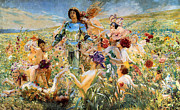 Shinning Framed Prints - The Knight of the Flowers  Framed Print by Georges Antoine Rochegrosse