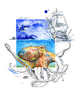 Moran Mixed Media Prints - The Kraken Print by Amber M  Moran