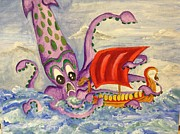 Viking Ship Paintings - The kraken  by Stephanie Atkinson