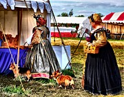 Renaissance Fairs Posters - The Ladies and the Corgies Poster by Julie Dant