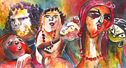 Czech Republic Drawings - The Ladies of Loket in The Czech Republic by Miki De Goodaboom