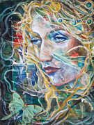 Beautiful Woman Mixed Media - The Lady and the Luna Moth by Patricia Allingham Carlson