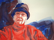 Cap Painting Originals - The Lady in Red by Kathy Braud